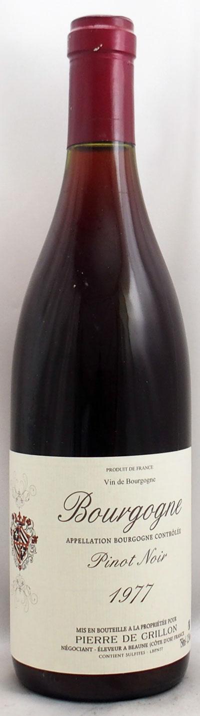 1977年 ブルゴーニュ ピノ ノワール(フランス 赤ワイン)