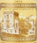 1974年 シャトー デュクリュ ボーカイユ CHATEAU DUCRU BEAUCAILLOU
