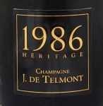 1986年 エリタージュ ブリュット ミレジメ HERITAGE BRUT MILLESIME J DE TELMONT