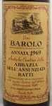 1969年 バローロ アッバツィア デッラ アヌンツィアータ BAROLO ABBAZIA DELL ANNUNZIATA