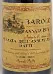 1974年 バローロ アッバツィア デッラ アヌンツィアータ BAROLO ABBAZIA DELL ANNUNZIATA RENATO RATTI